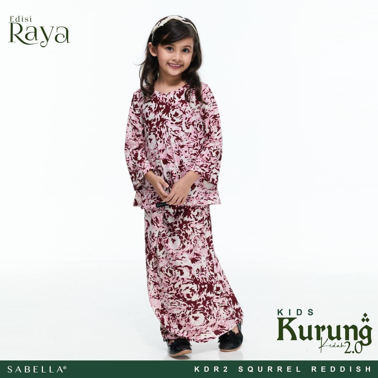 Kurung Kedah Raya 2.0 Kids Squrrel Reddish